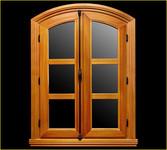 Fenêtre en chêne avec traverses hautes en arc surbaissé