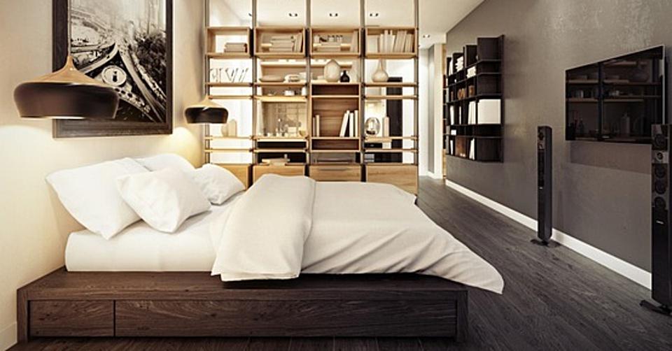 Socle bois avec lit intégré, étagère murale et mobilier claustra
