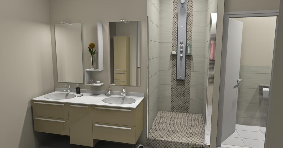 Projet d'aménagement de salle de bains - Rendu en 3 D